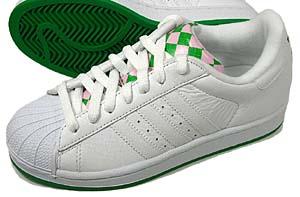 adidas superstar2 (white/faiway/gaipin) アディダス スーパースター2 (グリーン・ピンクチェック)