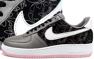 nike wmns air force 1 low premium [s.gray/white-black-p.pink] (318521-011) ナイキ エアフォース1 ロー プレミアム 「刺繍/グレー/ピンク」