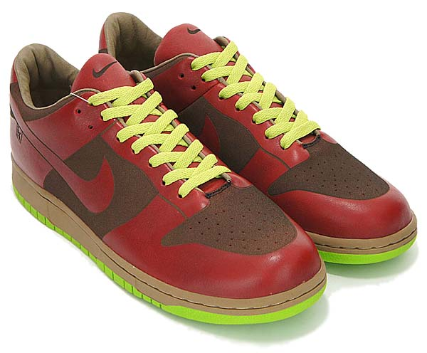 NIKE DUNK LOW 1 PIECE LASER [RED BURGUNDY/CHARTREUSE GREEN] 311611-661