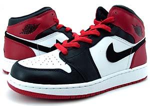 nike air jordan 1 retro gs [white/black-varsity red] (307383-102) ナイキ エアジョーダン1 レトロ GS 「つま黒(黒/赤)」