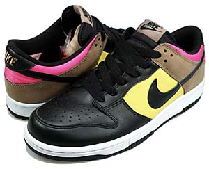 nike wmns dunk low [blk/blk-ozone-walnut] (317813-002) ナイキ ダンク ロー 「黒/黄/ピンク」