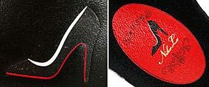 (左)ヒールサイドにプリントされたスティレットヒール(ハイヒール)のイラスト。(右)インナーソールのグラフィック