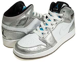 nike gs jordan 1 premium [metallic silver/white] (322675-001) ナイキ エアジョーダン1 プレミアム 「メタリックシルバー/ホワイト」