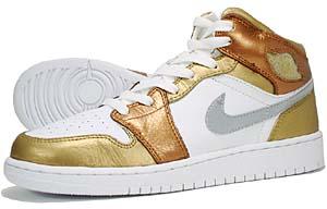 nike air jordan 1 premium gs [metallic gold/white-metallic cppr] (322675-711) ナイキ エアジョーダン1 プレミアム GS 「金/銀/銅」