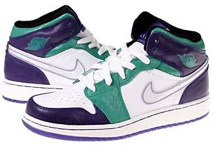 nike girls air jordan 1 [emerald green/black-grape ice-white] (322678-301) ナイキ エアジョーダン1 「エメラルドグリーン/パープル」