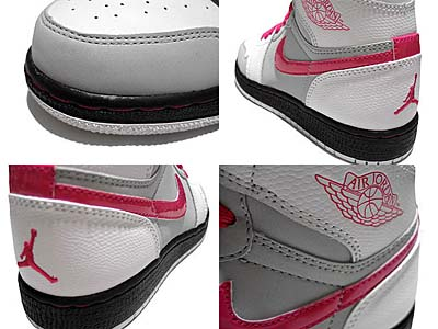 NIKE GS AIR JORDAN 1 RETRO HIGH [WHITE/VIVID PINK-NTRL-GREY-BLACK] 写真1