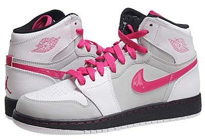 NIKE GS AIR JORDAN 1 RETRO HIGH [WHITE/VIVID PINK-NTRL-GREY-BLACK]