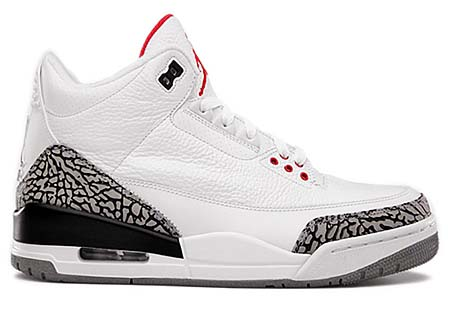 NIKE AIR JORDAN 3 RETRO [WHITE/FIRE RED-CEMENT GREY-BLACK] 136064-105 写真1