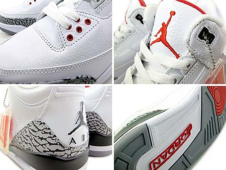 NIKE AIR JORDAN 3 RETRO [WHITE/FIRE RED-CEMENT GREY-BLACK] 136064-105 写真2