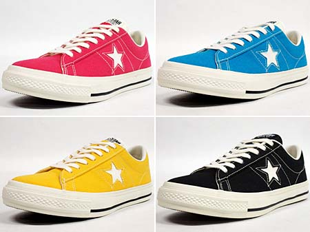 CONVERSE ONE STAR CANVAS OX [WHITE/BLACK] 32360120 写真2 ピンク、青、黄色、黒