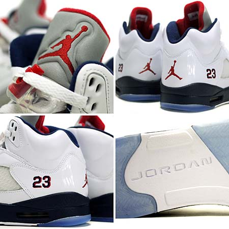 NIKE AIR JORDAN 5 RETRO [WHITE/VARSITY RED-MIDNIGHT NAVY] 136027-103