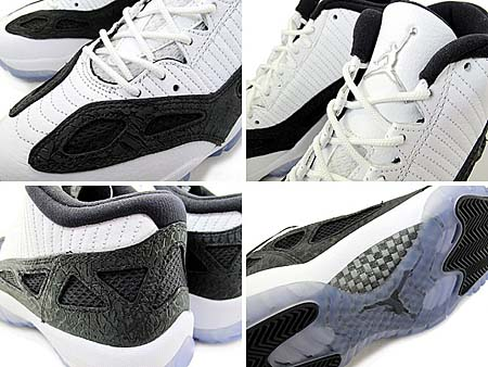 NIKE AIR JORDAN 11 RETRO LOW [WHITE/METALLIC SILVER/BLACK] 306008-100