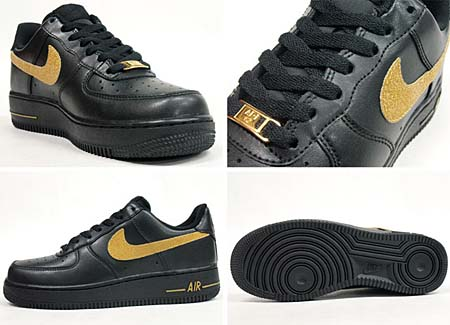 NIKE WMNS AIR FORCE 1 LOW LE [BLACK/MTLC GOLD-BLACK] 315115-018