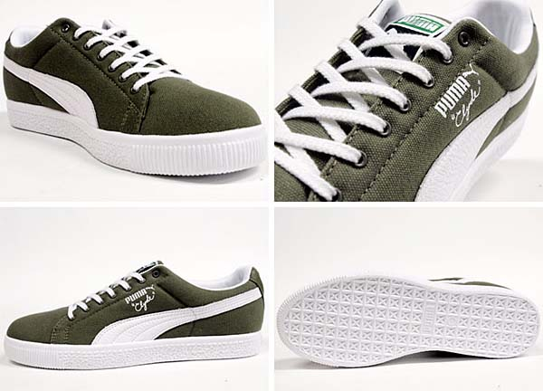 Puma CLYDE CANVAS LEATHER FS [OLIVE/WHITE] 352955 画像1