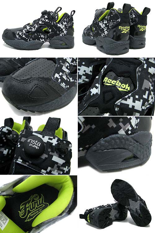 Reebok PUMP FURY [BLACK/CHARGED GREEN/GRAVL] J93189 写真1