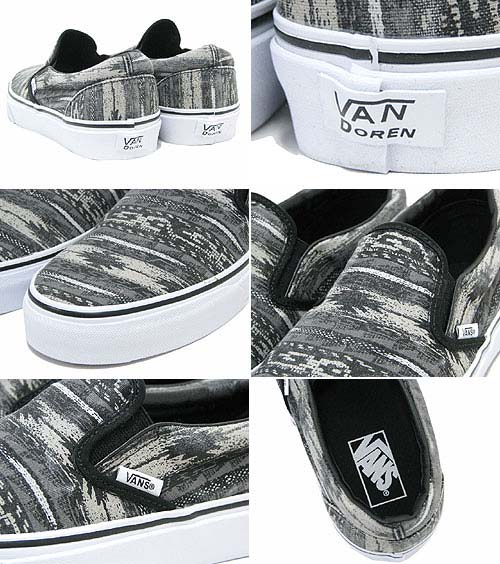 VANS CLASSIC SLIP-ON VAN DOREN [BLACK/STRIPES] 0QFD6G2 写真1