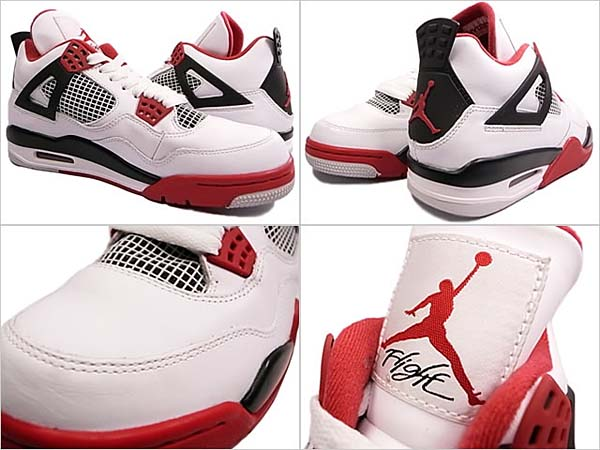 NIKE AIR JORDAN 4 RETRO [WHITE/FIRE RED-BLACK] 308497-110