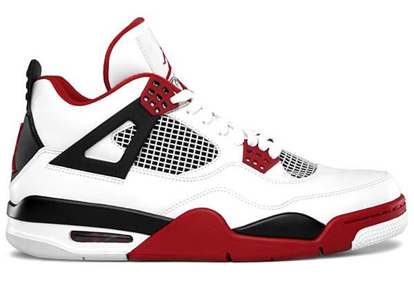 NIKE AIR JORDAN 4 RETRO [WHITE/FIRE RED-BLACK] 308497-110