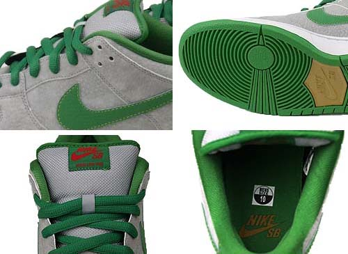 NIKE DUNK LOW PREMIUM SB [MATTE SILVER/CLASSIC GREEN-VARSITY RED] 313170-030