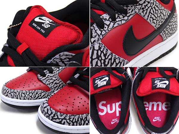 NIKE DUNK LOW PREMIUM SB SUPREME [FIRE RED/BLACK/CEMENT GREY] 313170-600