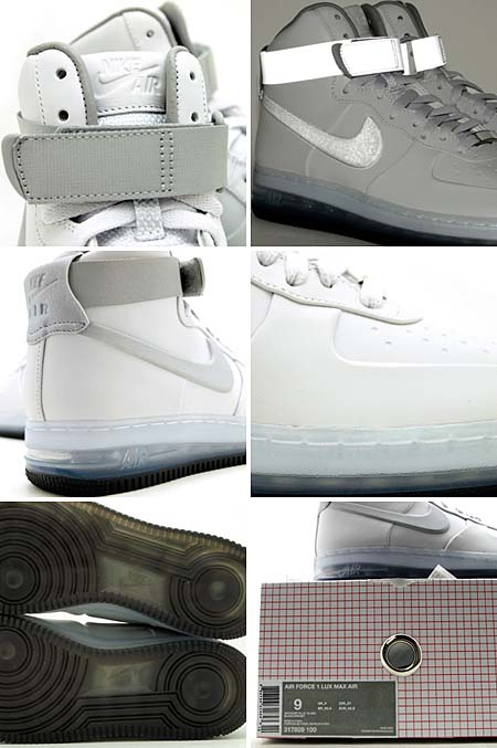 NIKE AIR FORCE 1 HIGH LUX MAX AIR '08 QS [WHITE/METALLIC SILVER] 317809-100