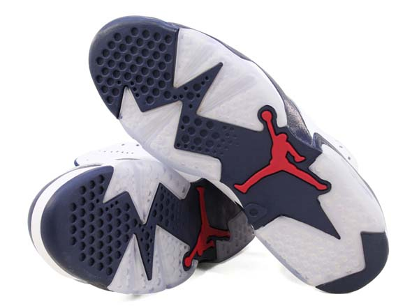 NIKE AIR JORDAN 6 RETRO [WHITE/MIDNIGHT NAVY-VARSITY RED] 384664-130