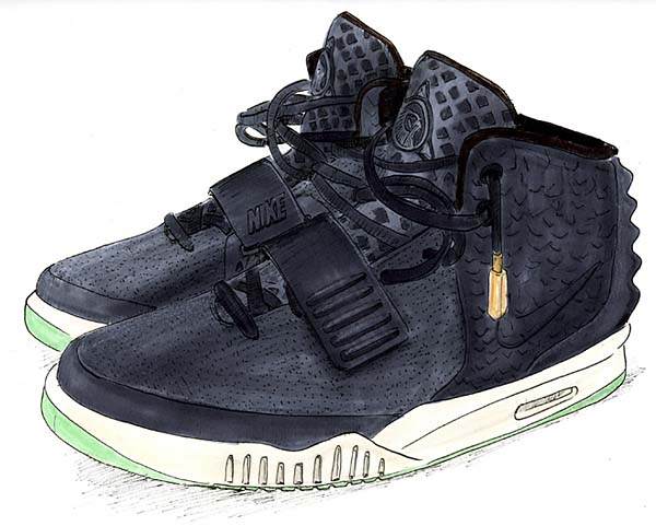 NIKE AIR YEEZY 2 NRG [BLACK/SOLAR RED] 508214-006