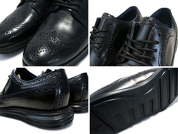 COLE HAAN LUNARGRAND LONG WING TIP [BLACK/BLACK] C11717