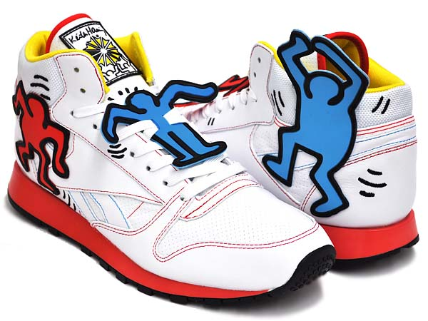 Reebok CL LTHR MID LUX  Keith Haring [WHITE/BLK/TECHY RED/MULTI] V44585