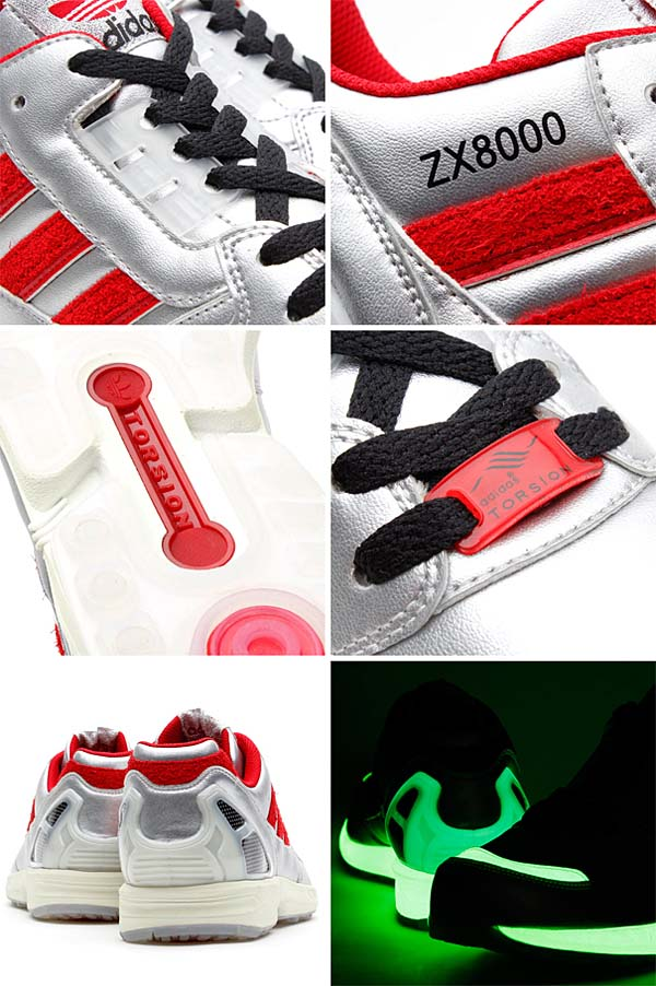 adidas Originals for atmos ZX8000 Glow In the Dark [METALLIC SILVER/UNIVERSITY RED/BLACK] M17283 写真2