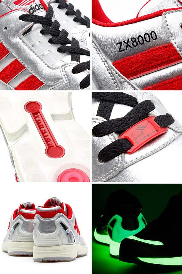 adidas Originals for atmos ZX8000 Glow In the Dark [METALLIC SILVER/UNIVERSITY RED/BLACK] M17283 写真2