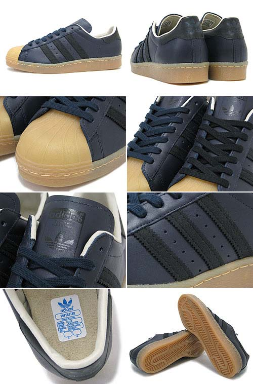 adidas SUPER STAR 80s GUM OUTSOLE [LEGEND INK/BLACK/GUM] Q23004 写真1