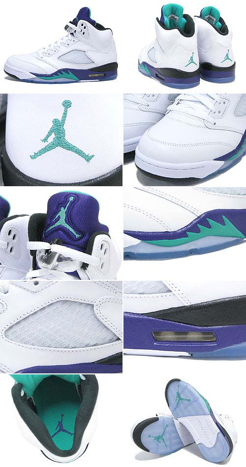 NIKE AIR JORDAN 5 RETRO [WHITE/EMERALD/GRAPE ICE] 136027-108
