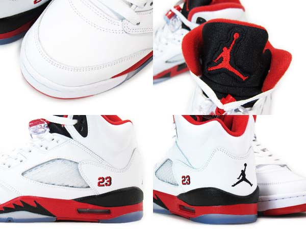 NIKE AIR JORDAN 5 RETRO [WHITE/FIRE RED/BLACK] 136027-120
