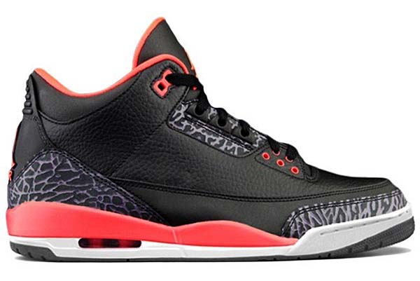 NIKE AIR JORDAN 3 RETRO [BLACK/BRIGHT CRIMSON/CNYN PURPLE] 136064-005