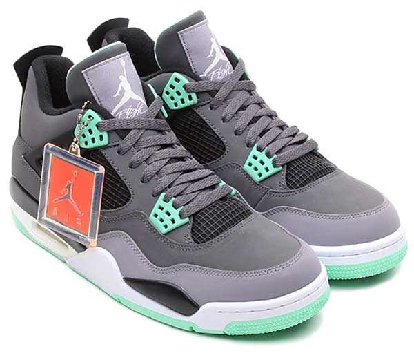 NIKE AIR JORDAN 4 RETRO [DARK GREY/GREEN GLOW-CEMENT GREY-BLACK] 308497-033