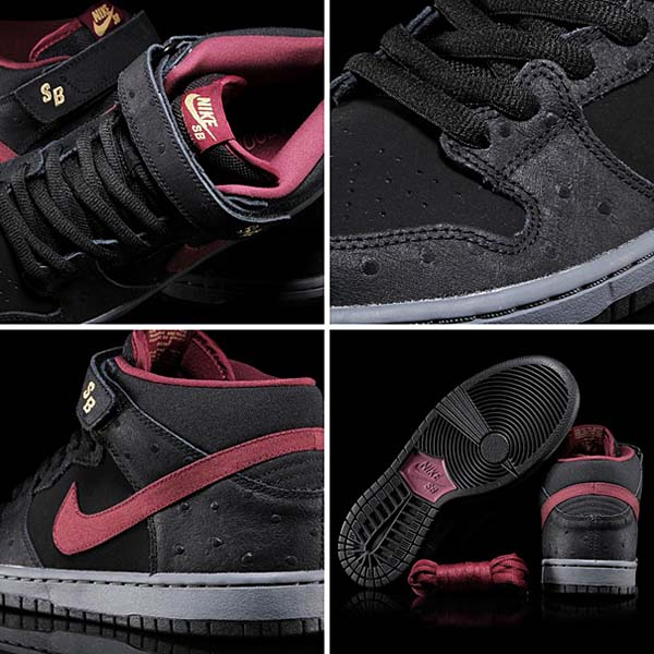 NIKE DUNK MID PRO SB [BLACK/CHERRYWOOD RED-LIGHT GRAPHITE] 314383-060