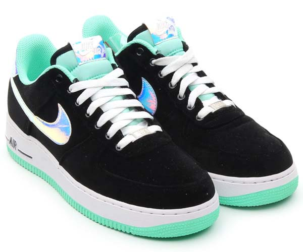 NIKE AIR FORCE 1 LOW [BLACK/SHINY SILVER/GREEN GLOW] 488298-080