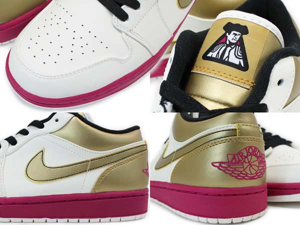 NIKE AIR JORDAN 1 LOW [SAIL/SPORT FUSCHIA/M.GOLD/BLACK] 553558-143