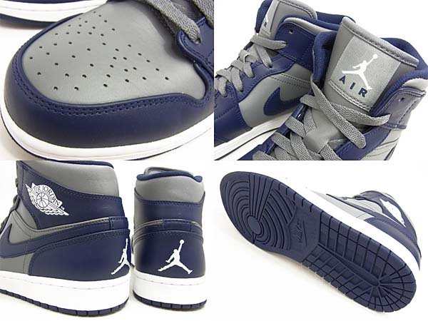 NIKE AIR JORDAN 1 MID COLLEGE PACK [COOL GREY/MIDNIGHT NAVY] 554724-006