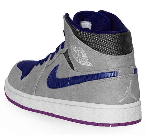 NIKE AIR JORDAN 1 RETRO MID [MATTE SILVER-LASER PURPLE-DEEP ROYAL BLUE] 554724-008