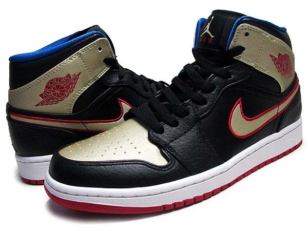 NIKE AIR JORDAN 1 MID [BLACK/GYM RED-METALLIC GOLD-GAME ROYAL] 554724-013
