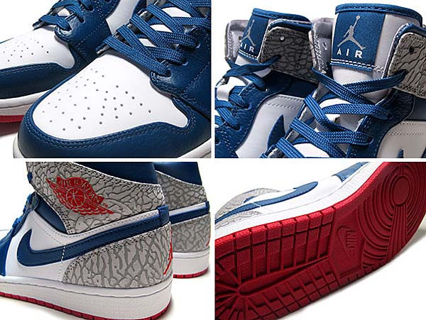 NIKE AIR JORDAN 1 MID [WHITE/FIRE RED-TRUE BLUE-CEMENT GREY] 554724-107