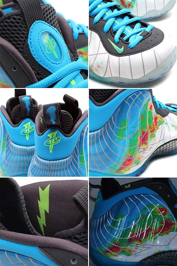 NIKE AIR FOAMPOSITE ONE PRM WEATHERMAN [WHITE/CURRENT BLUE-FLASH LIME] 575420-100