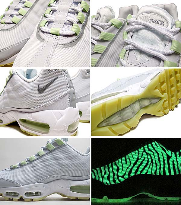 NIKE AIR MAX 95 PREMIUM TAPE GLOW in The DARK [WHITE/GEYSER GREY-LAB GREEN] 599425-103