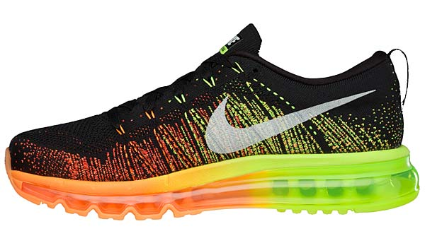 NIKE FLYKNIT AIR MAX [BLACK/SAIL-ATOMIC ORANGE-VOLT] 620469-018