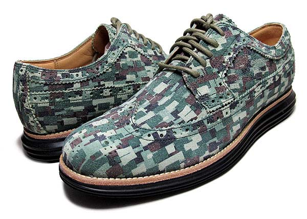 COLE HAAN LUNARGRAND LONG WING TIP [GREEN MOSAIC CAMO SUEDE] C12508