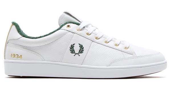 FRED PERRY HOPMAN LEATHER 80YEARS [WHITE/GREEN/GOLD] b6219-100