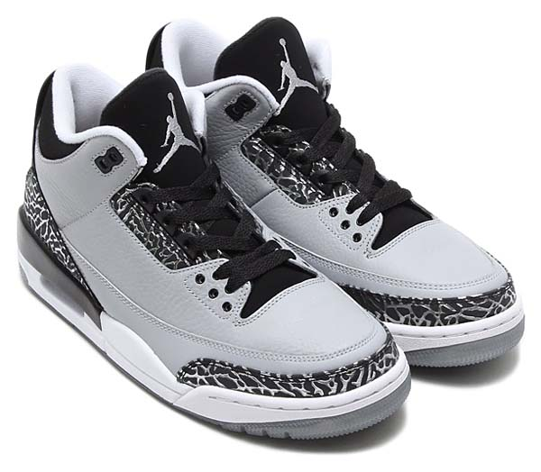 NIKE AIR JORDAN 3 RETRO [WOLF GREY / METALLIC SILVER - BLACK - WHITE] 136064-004