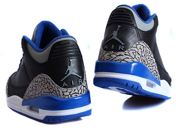 NIKE AIR JORDAN 3 RETRO [BLACK / SPORT BLUE-WOLF GREY] 136064-007